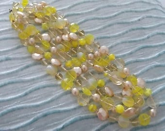 Vintage Lemon Glass Pearls Necklace PRETTY