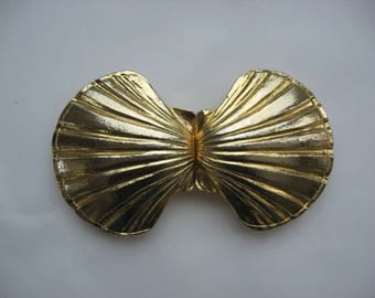 SALE Vintage Mimi Di N 1972 Belt Buckle//Designer Signed//Scallop Shell//18k Gold Plated//Heavy Large Belt Buckle//Very 70s