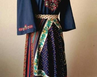 ON SALE 1970s Multi Pattern Colourful Cotton Long Ruffle Skirt EU36/S