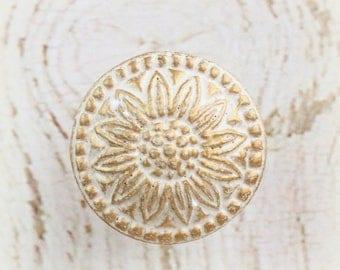 White Knob, Gold Knob, Drawer Pulls, Flower Knobs, Decorative Knob,  Furniture