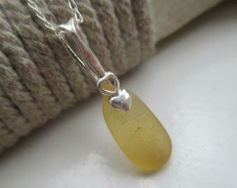 Yellow Sea Glass Sterling Silver Necklace