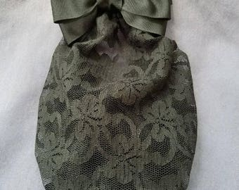 Long Black Lace Snood with Black Grosgrain Bow attached to a Barrette