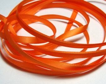 "1/4"" Double-Faced Satin Ribbon - Orange - Full Spool - 100 Yards"
