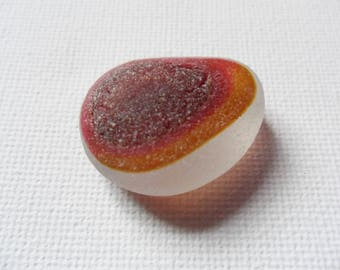 SEAHAM Red with golden amber edge on white flawless sea glass multi - Beautiful English beach find pieces