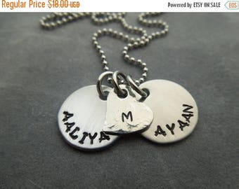 Personalized necklace, hand stamped stainless steel