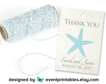 Printable Beach Wedding Favor Tags, Starfish Thank You Tags, Bridal Shower Gift Tags, Personalized Wedding Tags by Event Printables