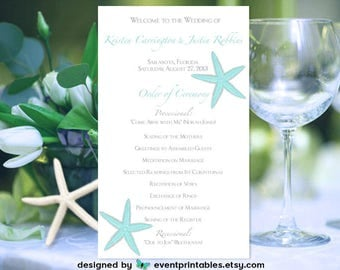Starfish Wedding Program, Two Sided Beach Wedding Order of Ceremony Card, Custom Color by Event Printables