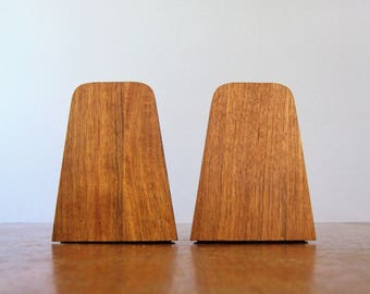 Mid Century Modern Wood Laminate Bookends