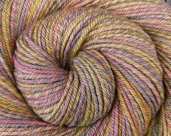 Luxury Handspun Yarn, Bulky weight - NURSERY RHYMES - Handpainted 60/40 Polwarth/Silk, 146 yards, gtift for knitter, weft yarn, felting yarn