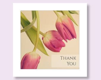 Flower Photo Card, Tulip Thank You Card, Floral Greetings Card, Pink Card, Note Card, Thank You Notelet, Notecard