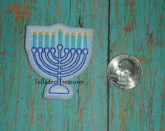 Menorah feltie with white felt - Great for Hair Bows, Reels, Clips and Crafts - Wintertime festival of Lights Candles Hanukkah