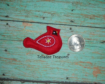 Red Cardinal Bird feltie - Great for Hair Bows, Reels, Clips and Crafts - Winter