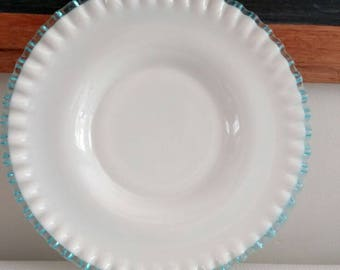 Teal Fluted Milk glass Platter