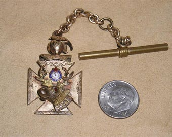 Vintage Victorian Elks Club Watch Fob Chain 1890's Jewelry 10036