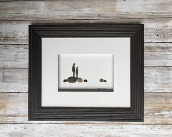 Pebble Art, Friend gift, brothers, sisters, bestfriends 8 by 10 PebbleArt by Sharon Nowlan choice of framed or unframed