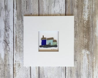 Original Art, Pebble Picture, Sharon Nowlan, Sea glass and Pebble art, Beach House Decor, Coastal Decor Home Decor, Nautical decor
