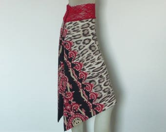 Argentine Tango & Salsa Skirt with Tail US 4 and 6 Milonga Dance Wear amazing Animal Designer  Print Tango Jupe adorable Robe