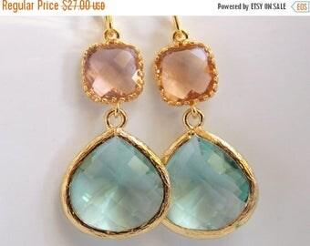 SALE Aqua Earrings, Soft Green Earrings, Peach Earrings, Light Green, Gold, Wedding, Bridesmaid Earrings, Bridal Jewelry, Bridesmaid Gifts
