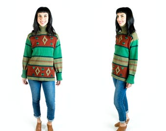 Vintage 1970s Space Dye Autumn Tone Southwest Style Turtleneck Sweater // Fits Like Size M Medium or L Large