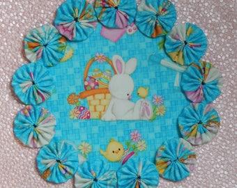 Easter Basket Bunny & Chick Yo Yo  Doily