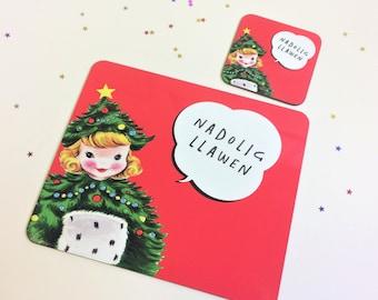 Kids Welsh Christmas Table Mat Nadolig Llawen Retro Xmas Tree Girl Unisex Melamine Placemat and Coaster Set Red