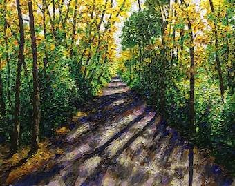 "Original Acrylic Impressionist style Impasto ""Pathways 3"" 16x20"