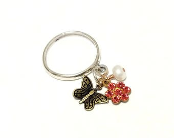 Sterling Silver Charm Dangle Ring - Tiny Brass Butterfly and Swarovski Flower