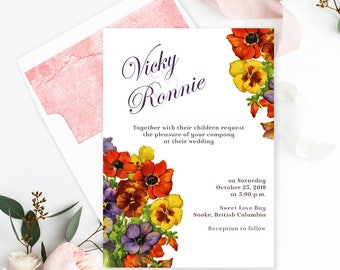 Semi Custom Wedding Stationery - Save the Date, Wedding, Bridal Shower, Engagement Party - Pansy Place (Style 13414)