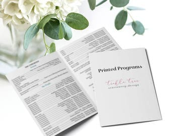 "Wedding Programs - 5"" x 7"" or 4"" x 9"" Flat or Folded Styles - Any Shop Design"