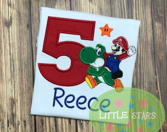 Mario with Yoshi Birthday Shirt - You Choose Number 1-9 - Appliqued and Personalized