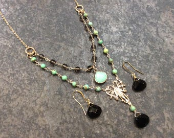 CLEARANCE Smoky quartz gemstone layered necklace and earrings set with green Turquoise beads and gold filigree detail