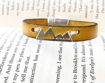 Mountain Leather Bracelet. Choose Bracelet Color. Magnetic Clasp Premium Leather Bracelet.