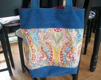 Handmade Upcycled Reclaimed Denim & Yellow Paisley Reversible Tote Handbag Multi Use Market Bag  FREE SHIP
