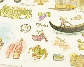 Italy Holiday - Translucent PVC Deco Sticker - 1 Sheet