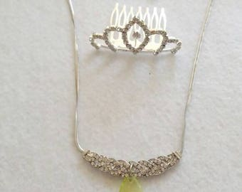 Inspired Princess Tiana  Costume Set of  Crown and  Necklace,