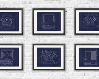 Six Print XBOX Gift Set -  Blueprint Game Poster - Gamer Wall Decor - Gamer Gift - Video Game Print - XBOX 360 - Duke - XBOX One - Poster