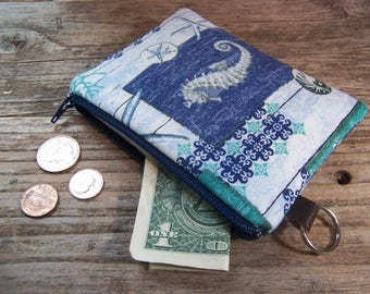 Change purse- Coin purse -  small zipper wallet in coastal sea horse fabric has a keyring ,will fit all your cards and change.