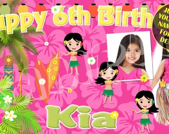 Luau, Hawaiian Luau Birthday Party, Hula Dancer, Luau Pool Party Birthday Banner - Email name, age and photo for any design