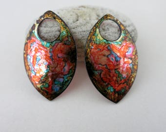 Dragon Scale Earring Charms, Handpainted Set of 2, 38x22mm, Bohemian Tribal Charms, Ready To Ship