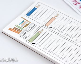 Personalized NOTEPAD, Teacher's Library To-Do List Notepad
