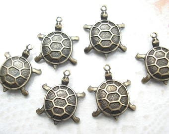 6 Pieces Antiqued Brass Turtle Charms