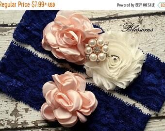 SALE NAVY BLUSH Bridal Garter Set - Keepsake & Toss Lace Wedding Garters - Chiffon Flower Pearl Garters - Something Blue - Rose Gold Garder