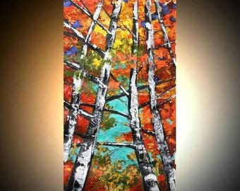 SALE Birch Trees Gallery Canvas Giclee Painting Landscape Palette Knife,Fall Colors by Nicolette Vaughan Horner