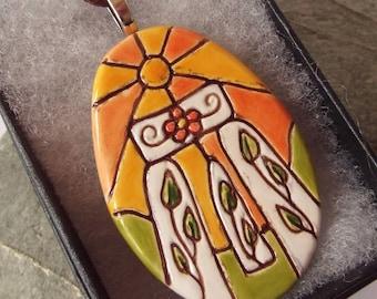 Ceramic Pottery Flower Henge Oval Pendant Necklace, Stonehenge Jewelry, Solstice, British Ancient Landscape, Pagan Jewelry, Large Pendant