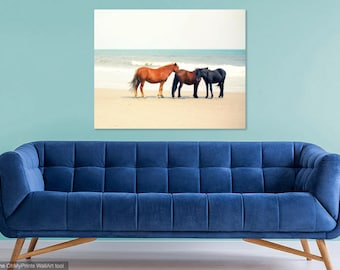 Horse Art Decor Photography | Wild Horses Outer Banks Beach | Equine Photography | Coastal Decor Beach House Art | Equine Art Prints | Peace
