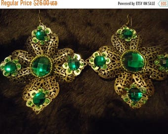 On Sale Handmade Green Dangly Large Flower Earrings