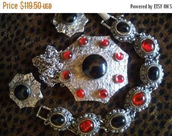 On Sale Red & Black Goldette Bracelet Necklace Earring Set, 1960's High End Rare Designer Signed Hard To Find Jewelry Old Hollywood Glamour