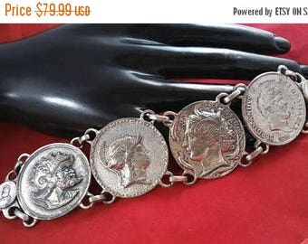 Now On Sale Vintage Roman Coin Chunky Wide Bracelet, Gladiators Syracuse Caesar Emperors Chariots Ferdinand Agustus Roman Empire Jewelry