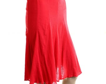 Vintage 90s Gina Benotti Red Flared Crepe Tea Swing Skirt UK 14 US 12