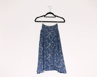 Blue White Floral Embroidered Cami Dress 90s Inspired Vintage Fabric OOAK